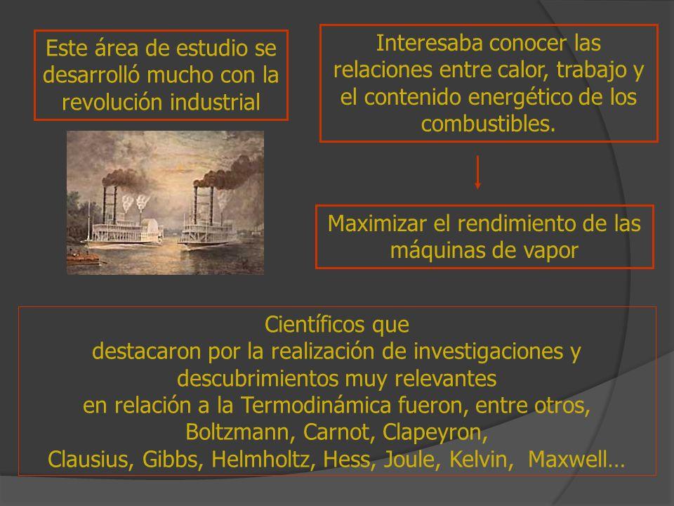 Este área de estudio se desarrolló mucho con la revolución industrial Interesaba conocer las relaciones entre calor, trabajo y el contenido energético