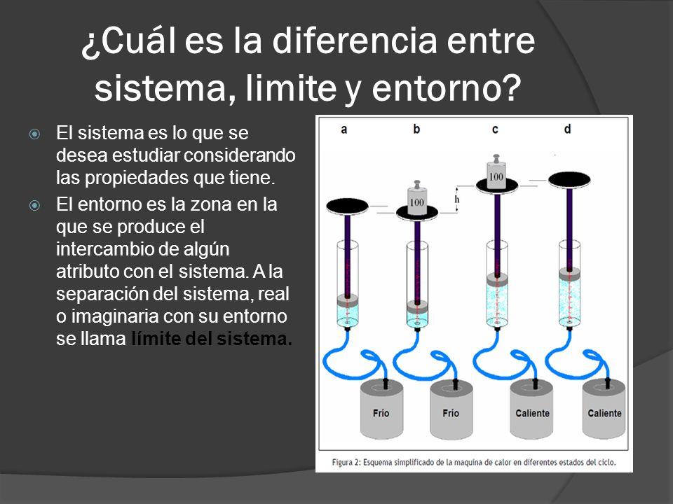 ¿Cuál es la diferencia entre sistema, limite y entorno? El sistema es lo que se desea estudiar considerando las propiedades que tiene. El entorno es l