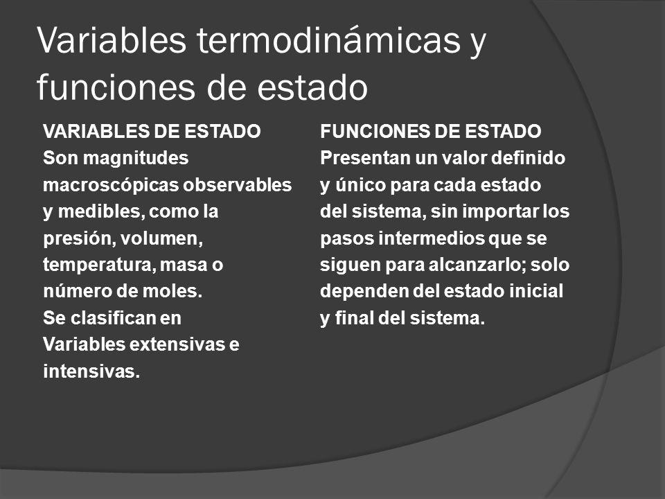 Variables termodinámicas y funciones de estado VARIABLES DE ESTADO Son magnitudes macroscópicas observables y medibles, como la presión, volumen, temp