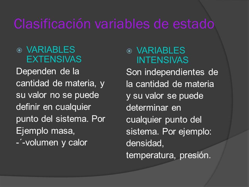 Clasificación variables de estado VARIABLES EXTENSIVAS Dependen de la cantidad de materia, y su valor no se puede definir en cualquier punto del siste