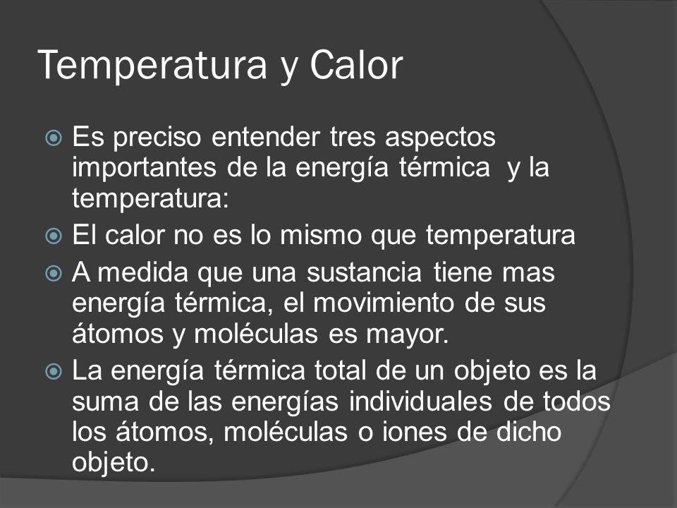 Temperatura y Calor Es preciso entender tres aspectos importantes de la energía térmica y la temperatura: El calor no es lo mismo que temperatura A me