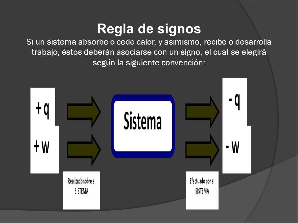 Regla de signos Si un sistema absorbe o cede calor, y asimismo, recibe o desarrolla trabajo, éstos deberán asociarse con un signo, el cual se elegirá