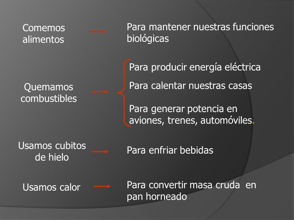 Comemos alimentos Para mantener nuestras funciones biológicas Quemamos combustibles Para producir energía eléctrica Para calentar nuestras casas Para