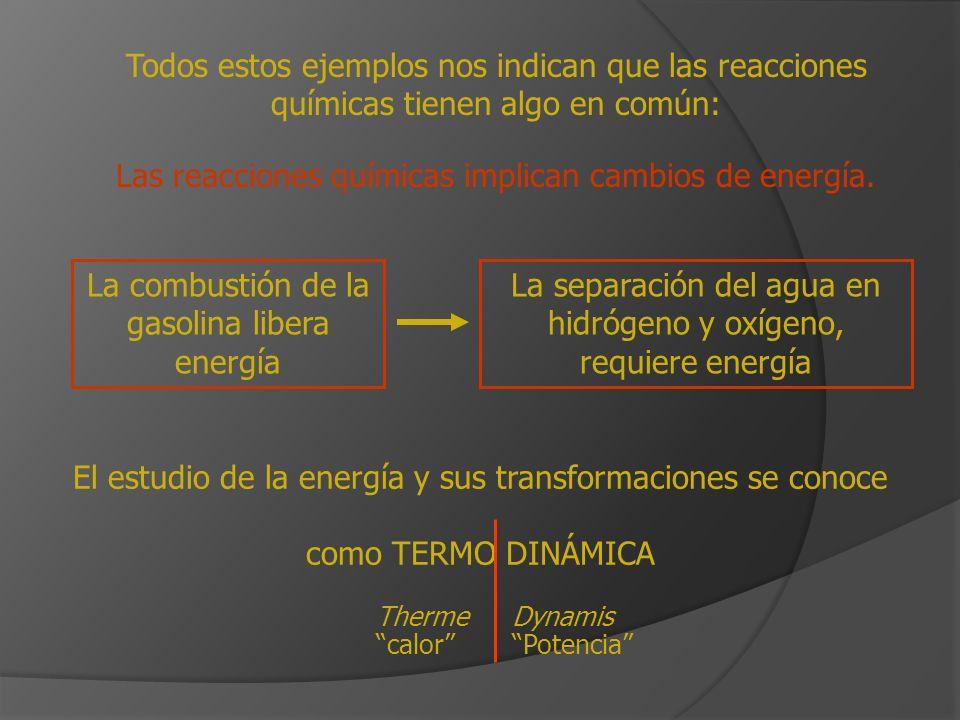 Todos estos ejemplos nos indican que las reacciones químicas tienen algo en común: Las reacciones químicas implican cambios de energía. La combustión