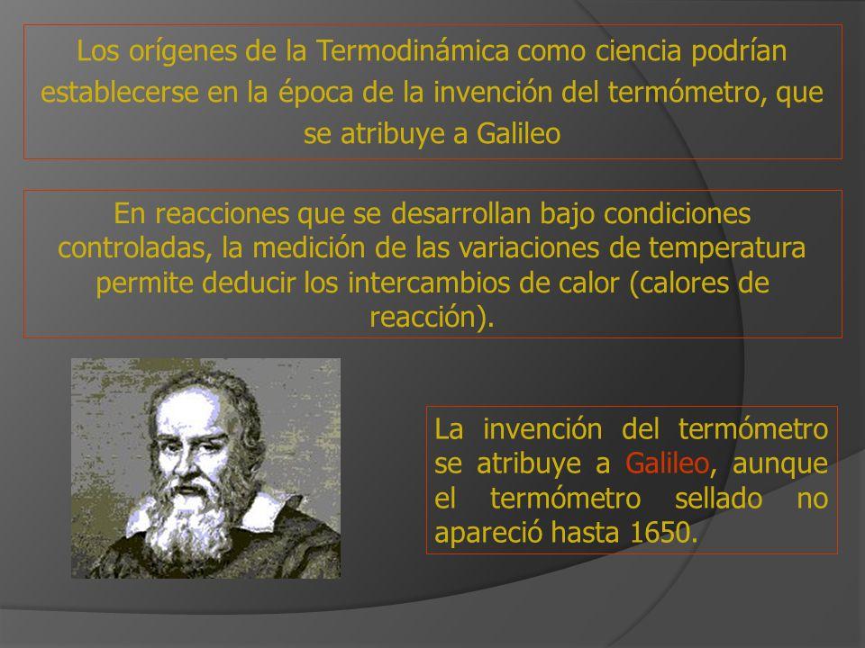 La invención del termómetro se atribuye a Galileo, aunque el termómetro sellado no apareció hasta 1650. Los orígenes de la Termodinámica como ciencia