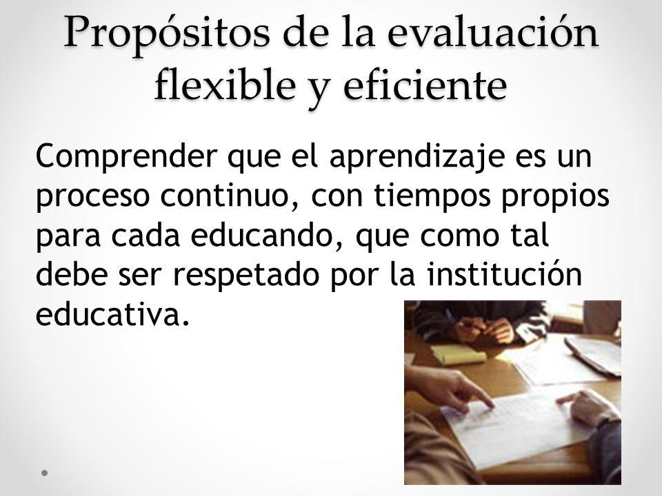 Propósitos de la evaluación flexible y eficiente Comprender que el aprendizaje es un proceso continuo, con tiempos propios para cada educando, que com