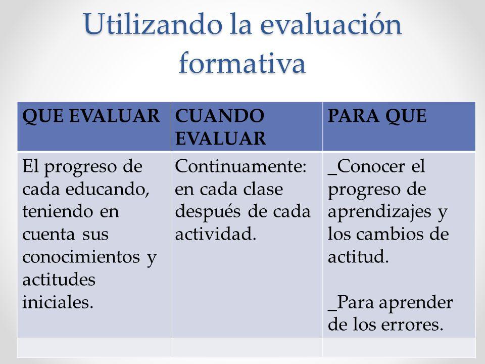 Utilizando la evaluación formativa QUE EVALUARCUANDO EVALUAR PARA QUE El progreso de cada educando, teniendo en cuenta sus conocimientos y actitudes i