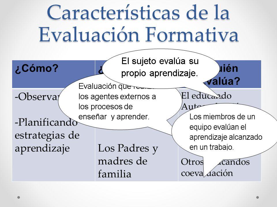 Características de la Evaluación Formativa ¿Cómo?¿Para Quién?¿Quién Evalúa? -Observando -Planificando estrategias de aprendizaje Para informar a: Los