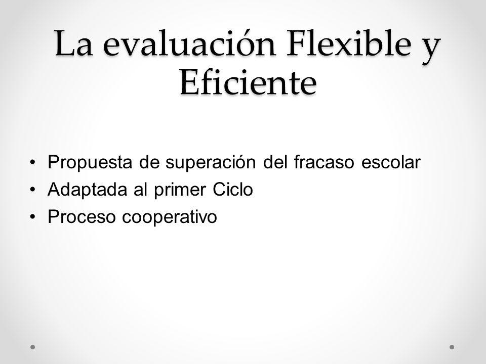 La evaluación Flexible y Eficiente Propuesta de superación del fracaso escolar Adaptada al primer Ciclo Proceso cooperativo