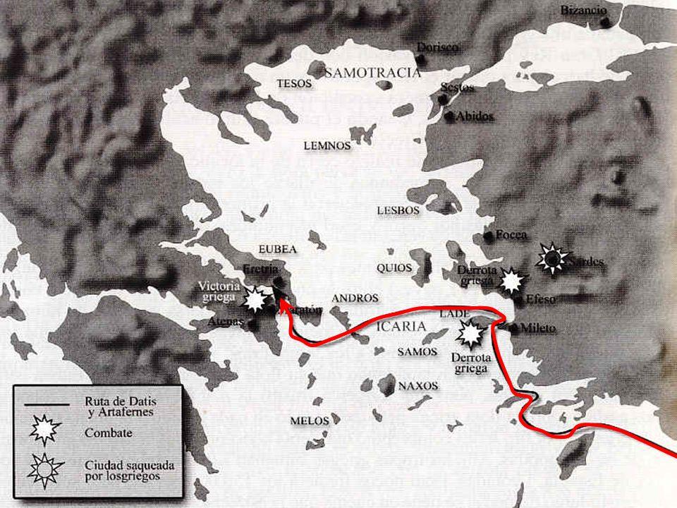 PRIMERA GUERRA MÉDICA (490 a.C.) Darío I encarga la represalia a su sobrino Artafernes y a Datis, un noble. En Atenas, Temístocles (elegido arconte el