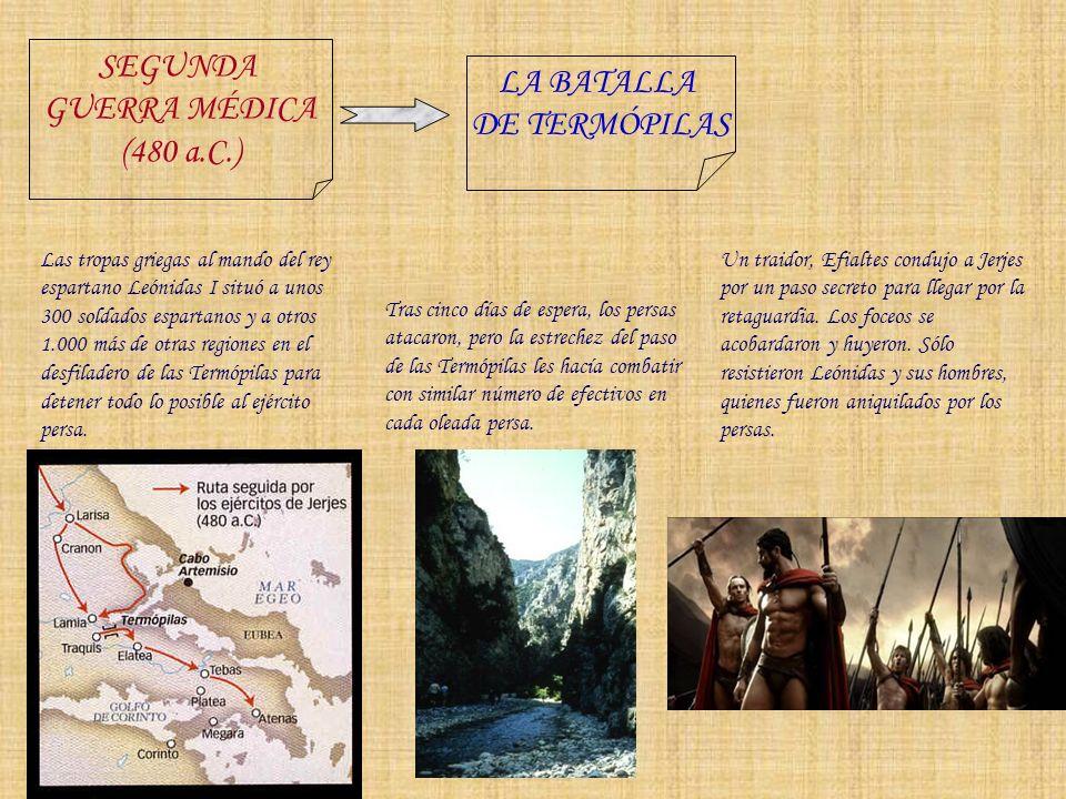 SEGUNDA GUERRA MÉDICA (480 a.C.) LA BATALLA DE SALAMINA Tras la derrota de las Termópilas, la flota griega abandonó Eubea y evacuó Atenas, refugiándose en la isla de Salamina.