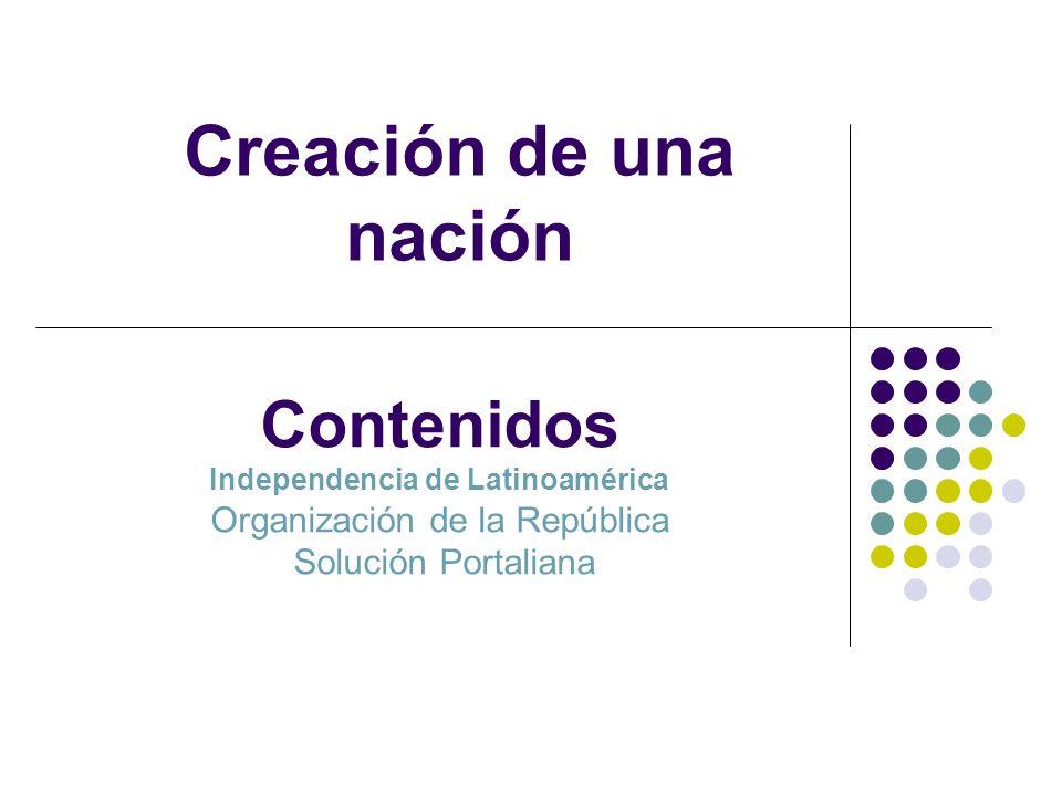 Creación de una nación Contenidos Independencia de Latinoamérica Organización de la República Solución Portaliana