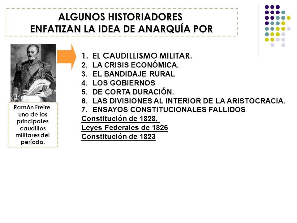 1.EL CAUDILLISMO MILITAR. 2.LA CRISIS ECONÓMICA. 3.EL BANDIDAJE RURAL 4.LOS GOBIERNOS 5.DE CORTA DURACIÓN. 6.LAS DIVISIONES AL INTERIOR DE LA ARISTOCR