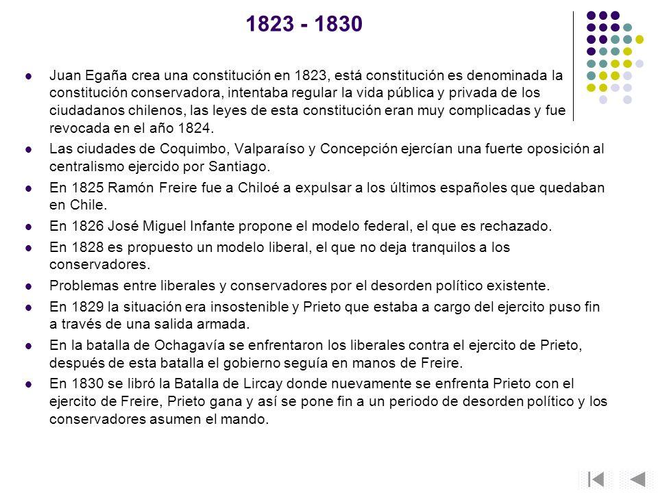 1823 - 1830 Juan Egaña crea una constitución en 1823, está constitución es denominada la constitución conservadora, intentaba regular la vida pública