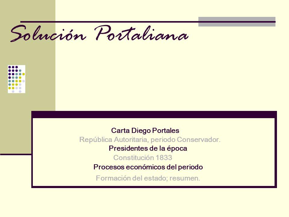 Solución Portaliana Carta Diego Portales República Autoritaria, periodo Conservador. Constitución 1833 Procesos económicos del periodo Presidentes de