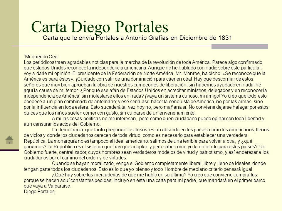 Carta Diego Portales Carta que le envía Portales a Antonio Grafías en Diciembre de 1831 Mi querido Cea: Los periódicos traen agradables noticias para