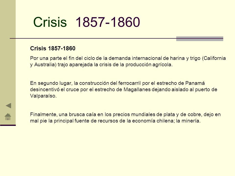 Crisis 1857-1860 Por una parte el fin del ciclo de la demanda internacional de harina y trigo (California y Australia) trajo aparejada la crisis de la