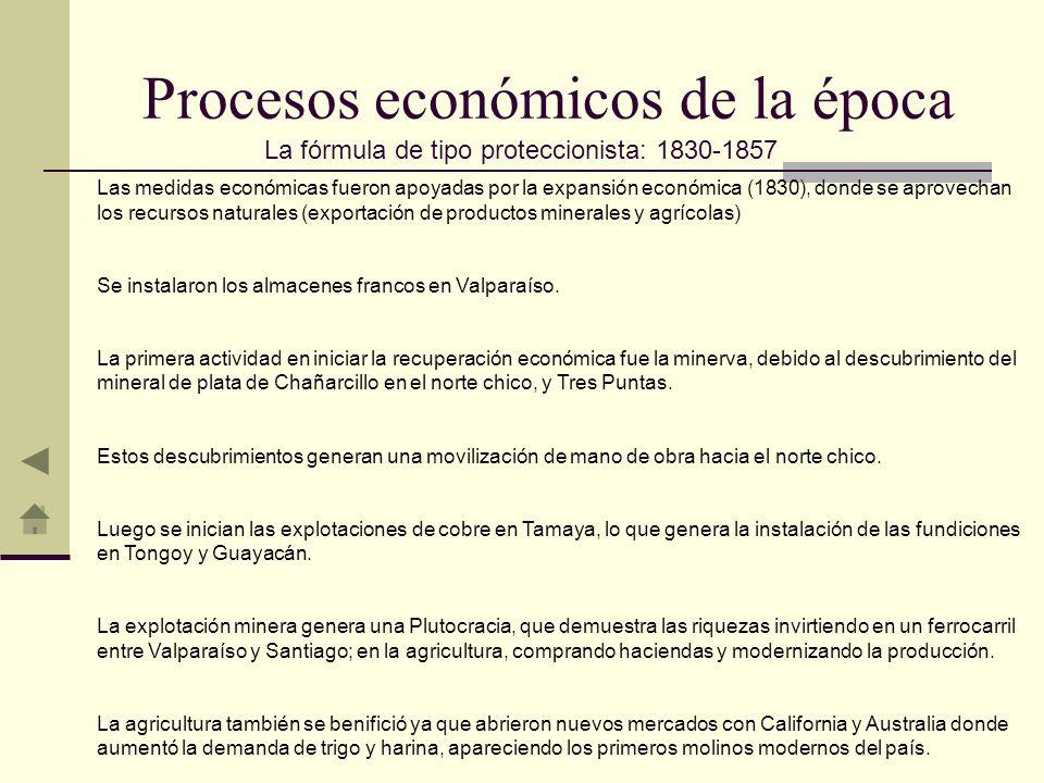 Las medidas económicas fueron apoyadas por la expansión económica (1830), donde se aprovechan los recursos naturales (exportación de productos mineral