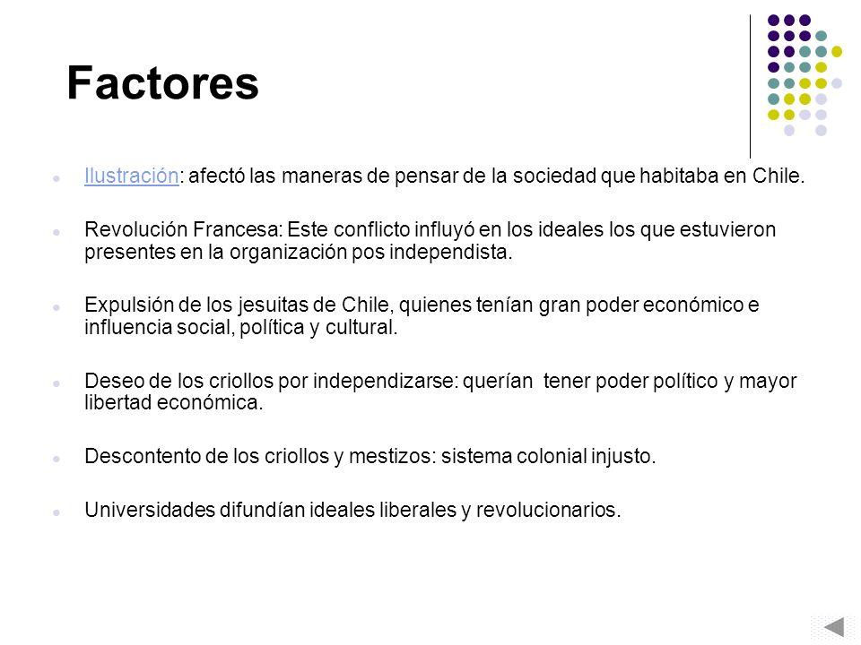 Factores Ilustración: afectó las maneras de pensar de la sociedad que habitaba en Chile. Ilustración Revolución Francesa: Este conflicto influyó en lo