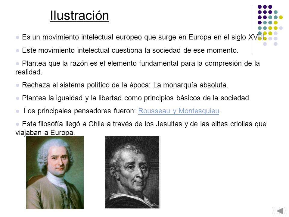 Ilustración Es un movimiento intelectual europeo que surge en Europa en el siglo XVIII. Este movimiento intelectual cuestiona la sociedad de ese momen