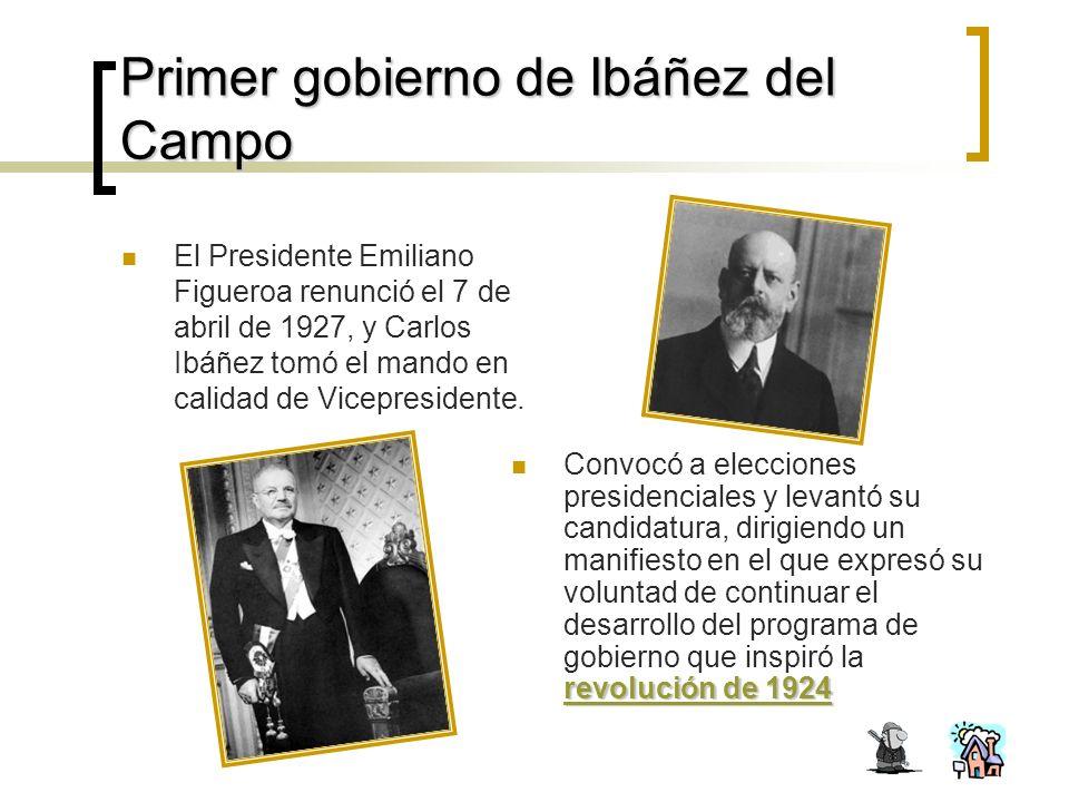 Primer gobierno de Ibáñez del Campo El Presidente Emiliano Figueroa renunció el 7 de abril de 1927, y Carlos Ibáñez tomó el mando en calidad de Vicepresidente.