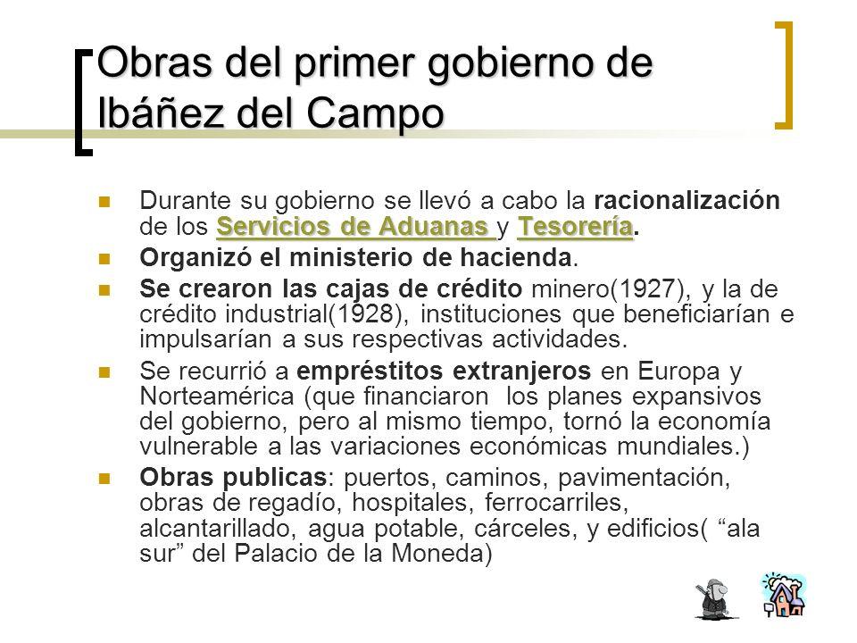Obras del primer gobierno de Ibáñez del Campo Servicios de Aduanas Servicios de Aduanas Tesorería Durante su gobierno se llevó a cabo la racionalización de los Servicios de Aduanas y Tesorería.TesoreríaServicios de Aduanas Tesorería Organizó el ministerio de hacienda.