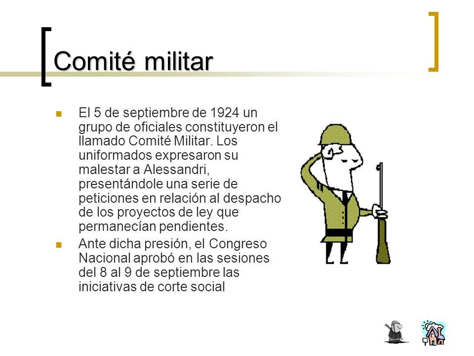 Comité militar El 5 de septiembre de 1924 un grupo de oficiales constituyeron el llamado Comité Militar.