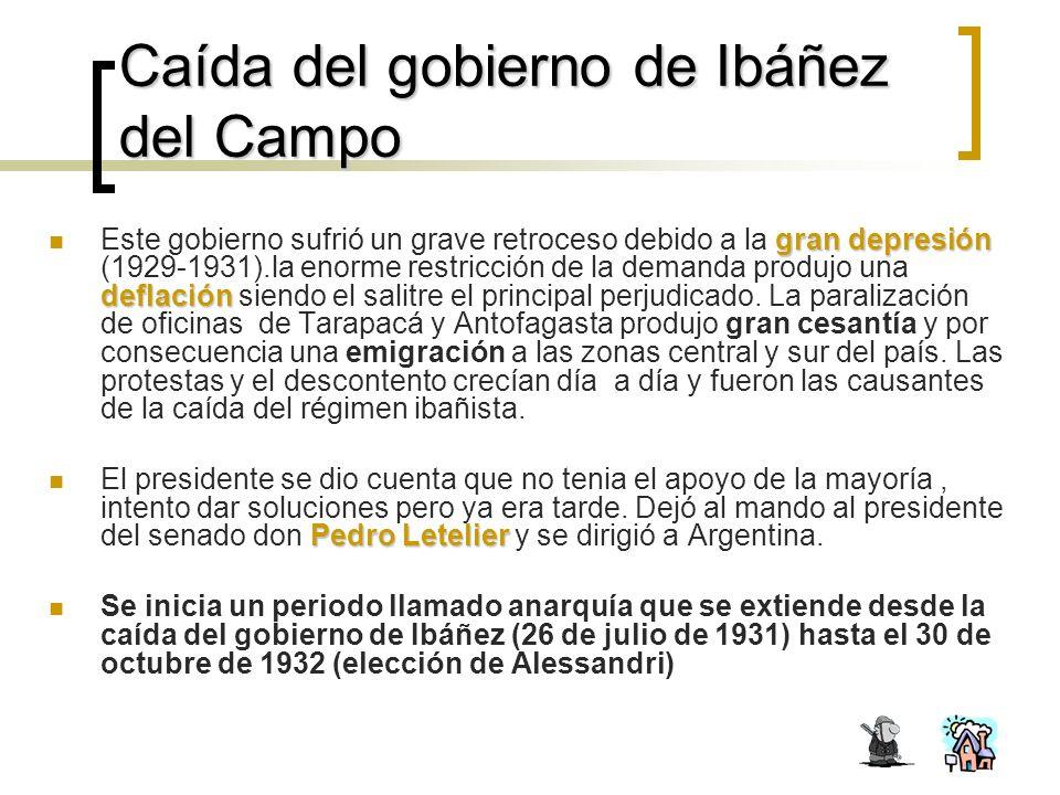 Caída del gobierno de Ibáñez del Campo gran depresión deflación Este gobierno sufrió un grave retroceso debido a la gran depresión (1929-1931).la enorme restricción de la demanda produjo una deflación siendo el salitre el principal perjudicado.