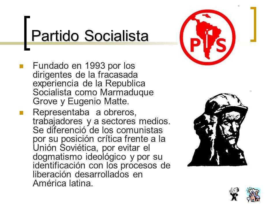 Partido Socialista Fundado en 1993 por los dirigentes de la fracasada experiencia de la Republica Socialista como Marmaduque Grove y Eugenio Matte.