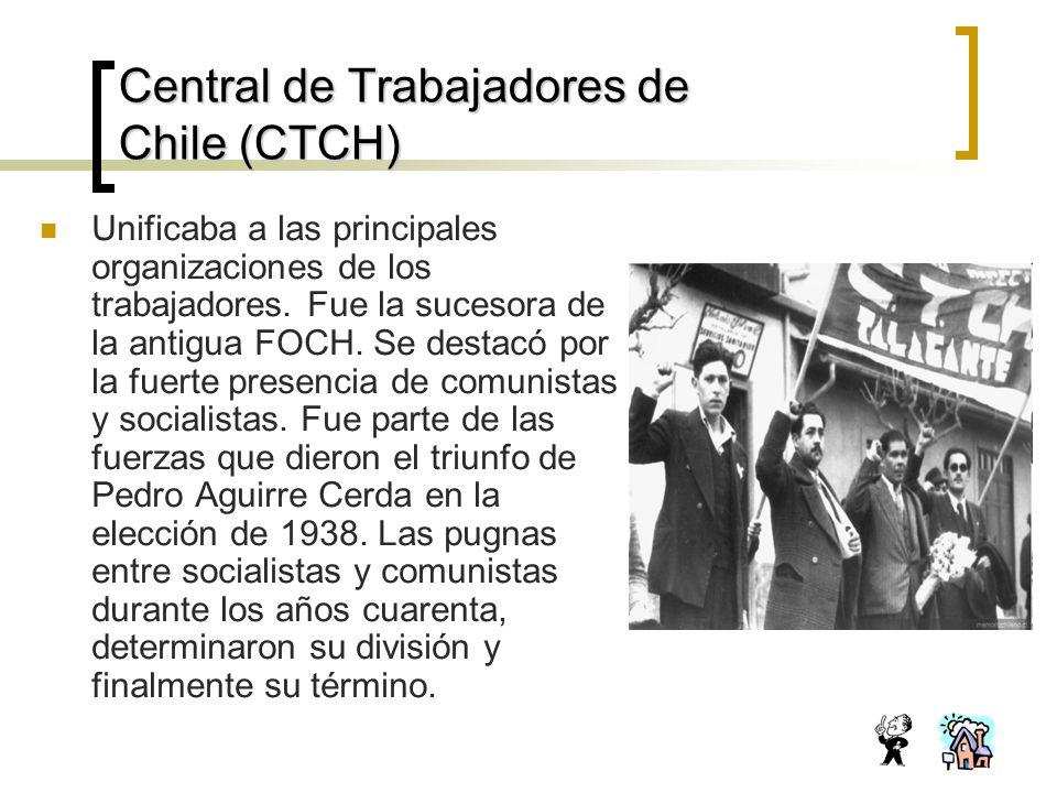 Central de Trabajadores de Chile (CTCH) Unificaba a las principales organizaciones de los trabajadores.