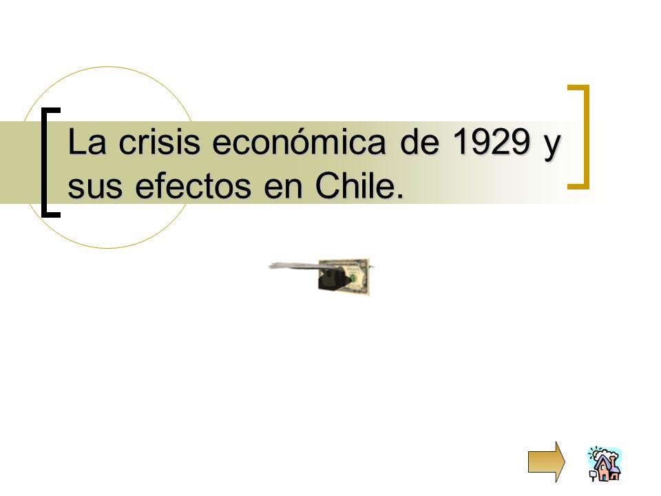 La crisis económica de 1929 y sus efectos en Chile.
