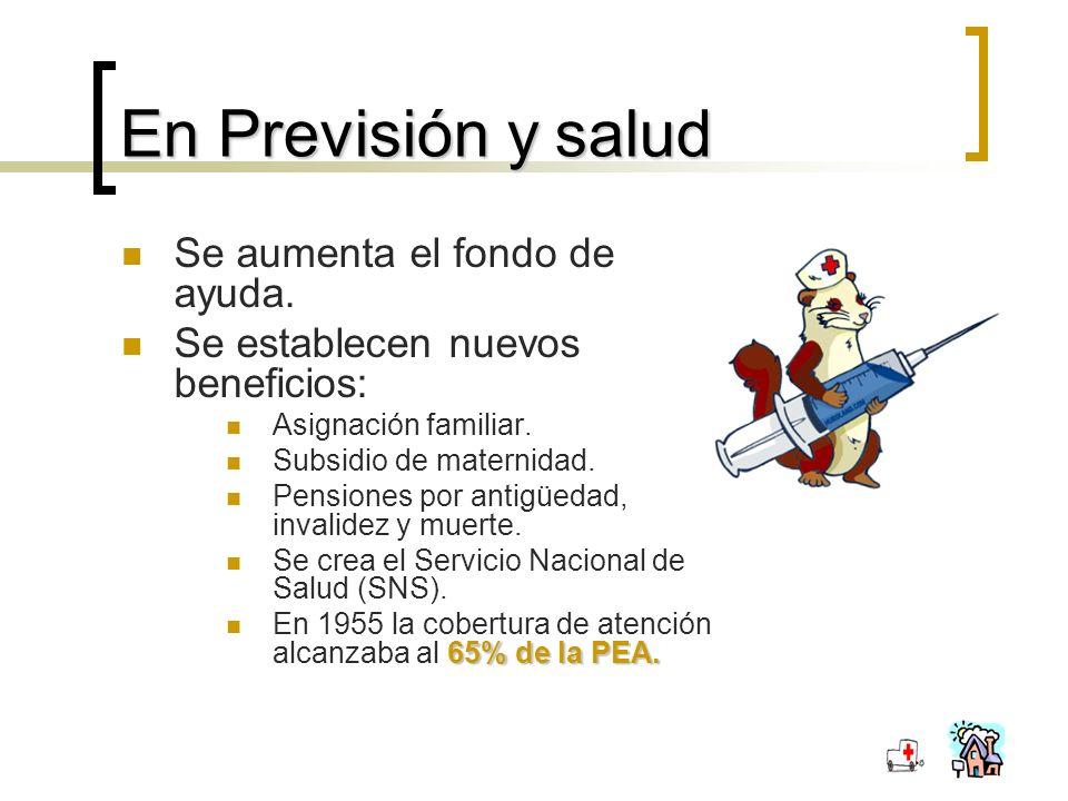 En Previsión y salud Se aumenta el fondo de ayuda.