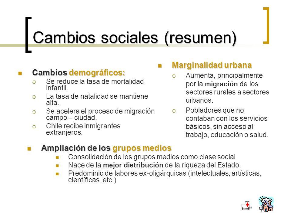 Cambios sociales (resumen) Cambios demográficos: Cambios demográficos: Se reduce la tasa de mortalidad infantil.