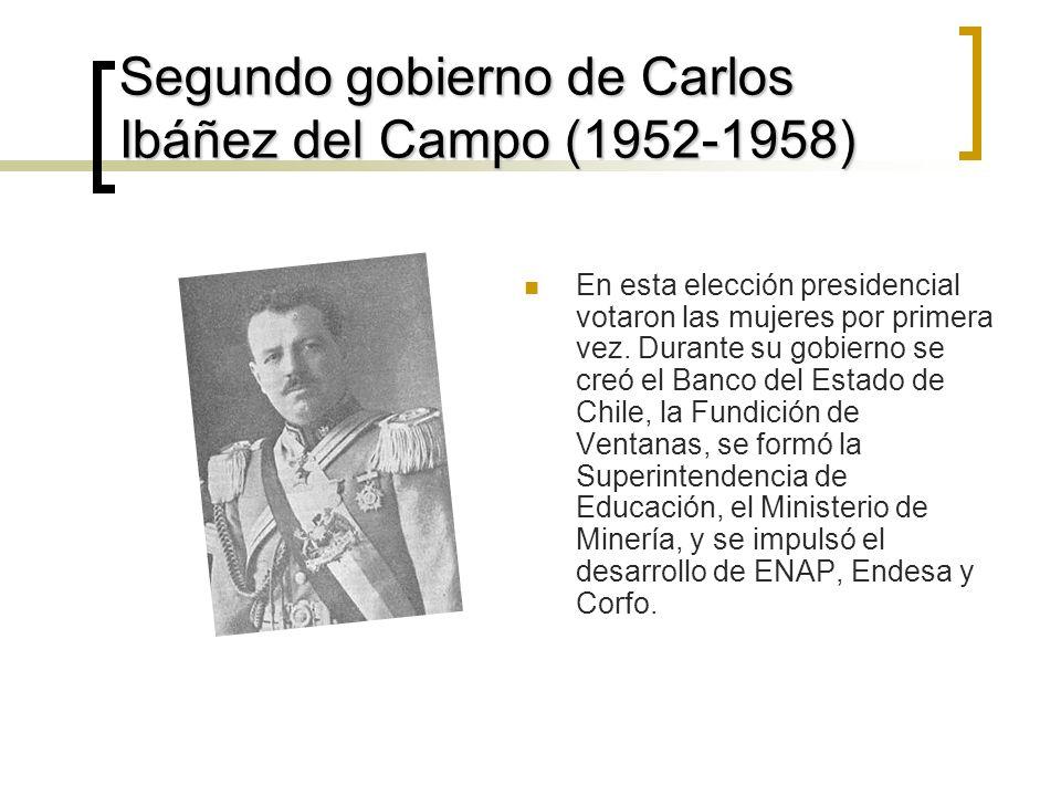 Segundo gobierno de Carlos Ibáñez del Campo (1952-1958) En esta elección presidencial votaron las mujeres por primera vez.