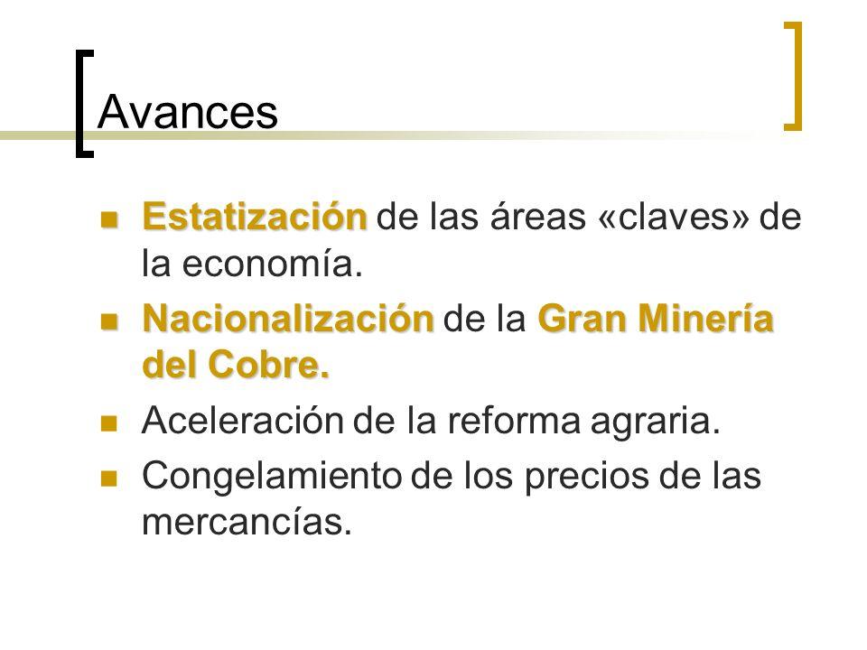 Avances Estatización Estatización de las áreas «claves» de la economía.