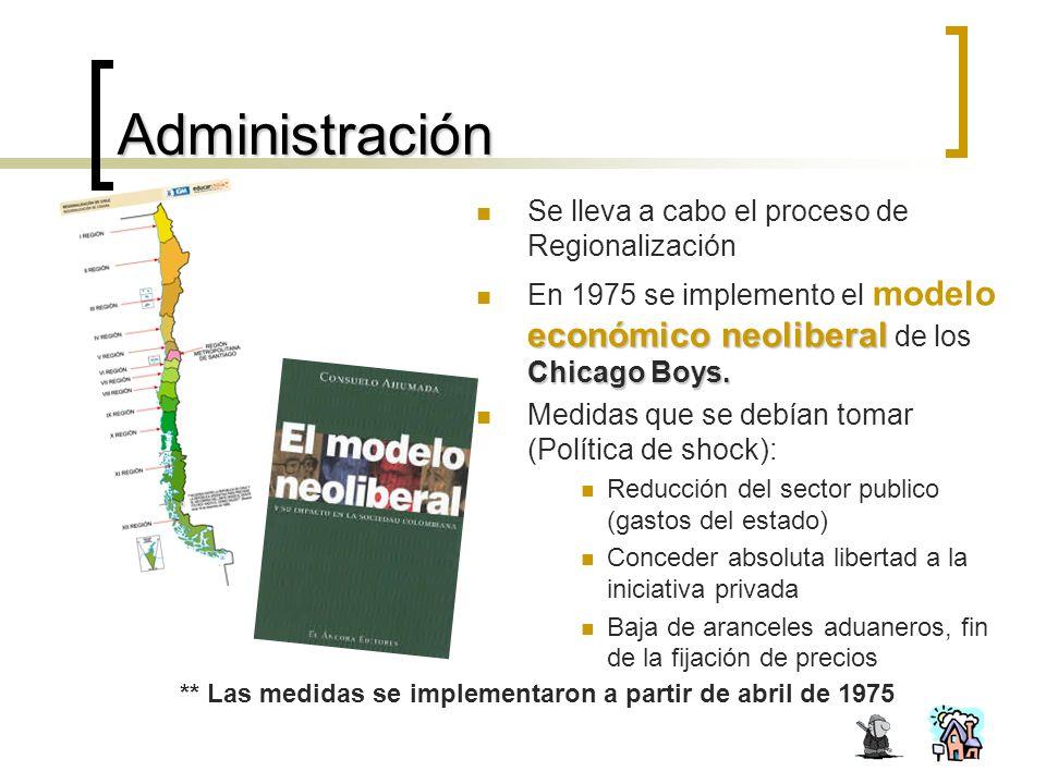 Administración Se lleva a cabo el proceso de Regionalización económico neoliberal Chicago Boys.