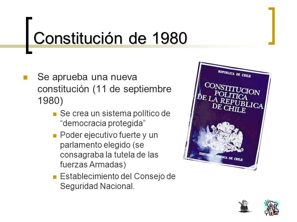 Constitución de 1980 Se aprueba una nueva constitución (11 de septiembre 1980) Se crea un sistema político de democracia protegida Poder ejecutivo fuerte y un parlamento elegido (se consagraba la tutela de las fuerzas Armadas) Establecimiento del Consejo de Seguridad Nacional.