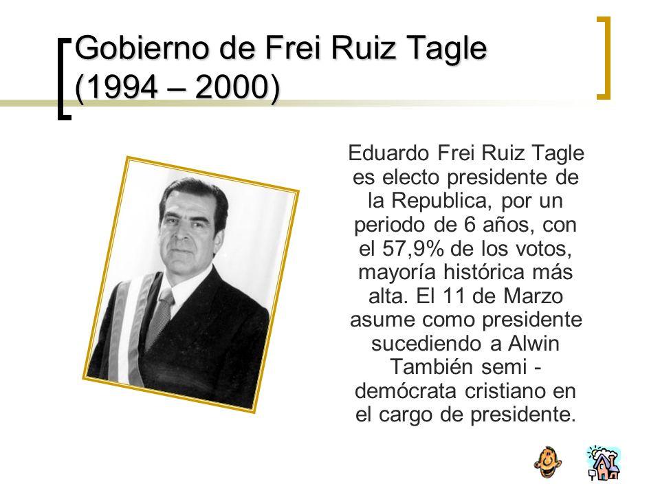 Gobierno de Frei Ruiz Tagle (1994 – 2000) Eduardo Frei Ruiz Tagle es electo presidente de la Republica, por un periodo de 6 años, con el 57,9% de los votos, mayoría histórica más alta.