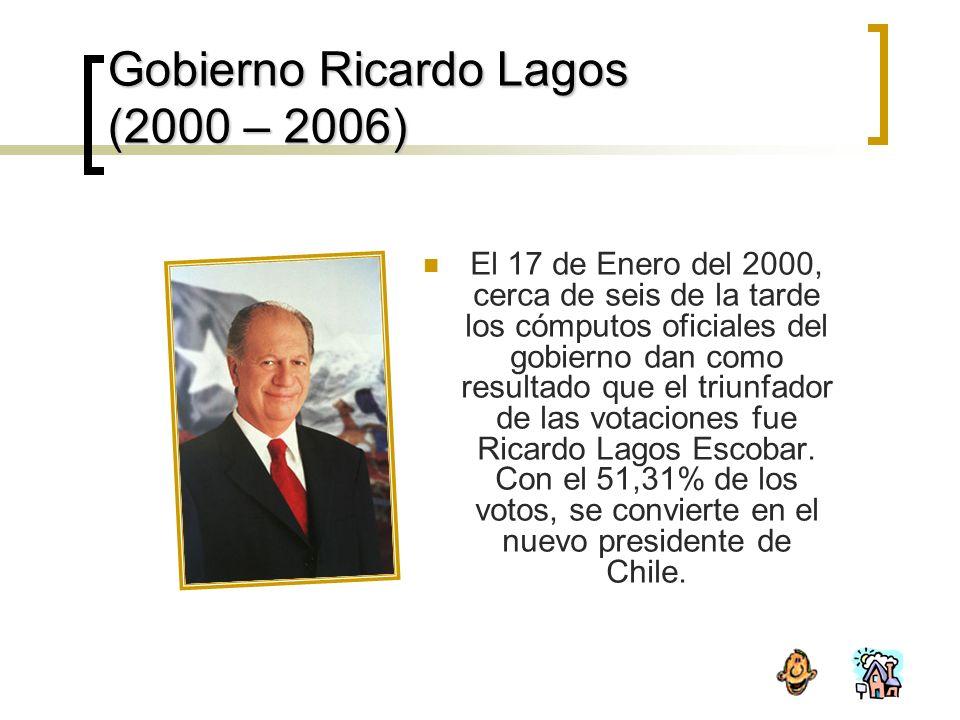 Gobierno Ricardo Lagos (2000 – 2006) El 17 de Enero del 2000, cerca de seis de la tarde los cómputos oficiales del gobierno dan como resultado que el triunfador de las votaciones fue Ricardo Lagos Escobar.