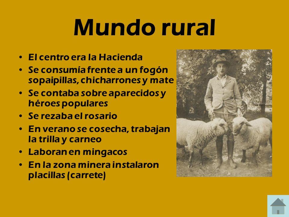 Mundo rural El centro era la Hacienda Se consumía frente a un fogón sopaipillas, chicharrones y mate Se contaba sobre aparecidos y héroes populares Se