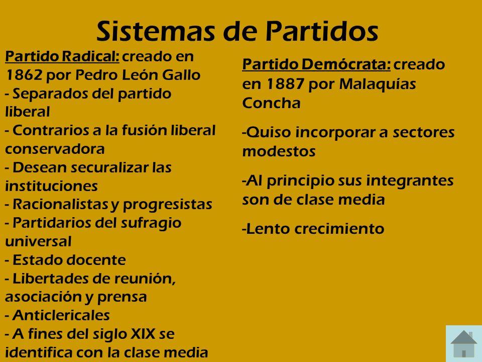 Sistemas de Partidos Partido Radical: creado en 1862 por Pedro León Gallo - Separados del partido liberal - Contrarios a la fusión liberal conservador