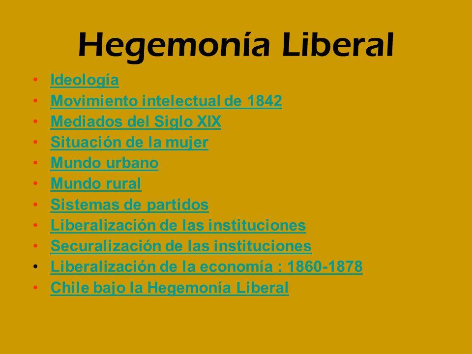 Hegemonía Liberal Ideología Movimiento intelectual de 1842 Mediados del Siglo XIX Situación de la mujer Mundo urbano Mundo rural Sistemas de partidos