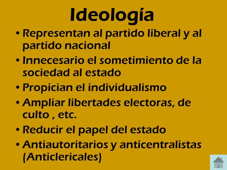 Ideología Representan al partido liberal y al partido nacional Innecesario el sometimiento de la sociedad al estado Propician el individualismo Amplia