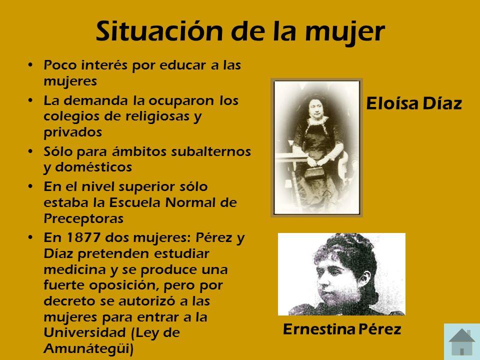 Situación de la mujer Poco interés por educar a las mujeres La demanda la ocuparon los colegios de religiosas y privados Sólo para ámbitos subalternos