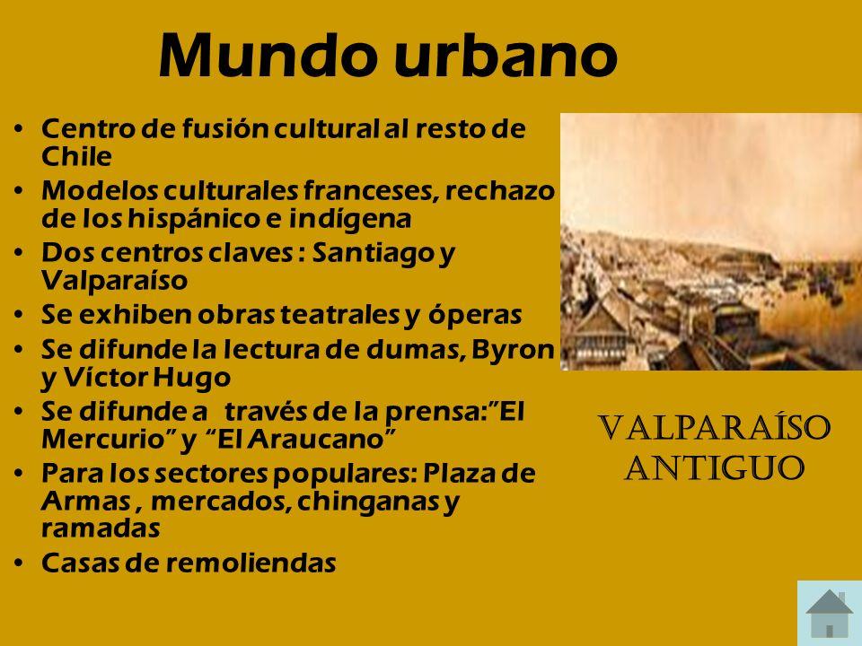 Mundo urbano Centro de fusión cultural al resto de Chile Modelos culturales franceses, rechazo de los hispánico e indígena Dos centros claves : Santia