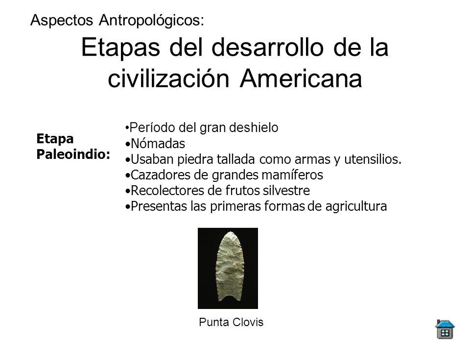 Etapas del desarrollo de la civilización Americana Aspectos Antropológicos: Etapa Paleoindio: Período del gran deshielo Nómadas Usaban piedra tallada