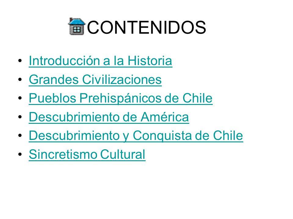 CONTENIDOS Introducción a la Historia Grandes Civilizaciones Pueblos Prehispánicos de Chile Descubrimiento de América Descubrimiento y Conquista de Ch