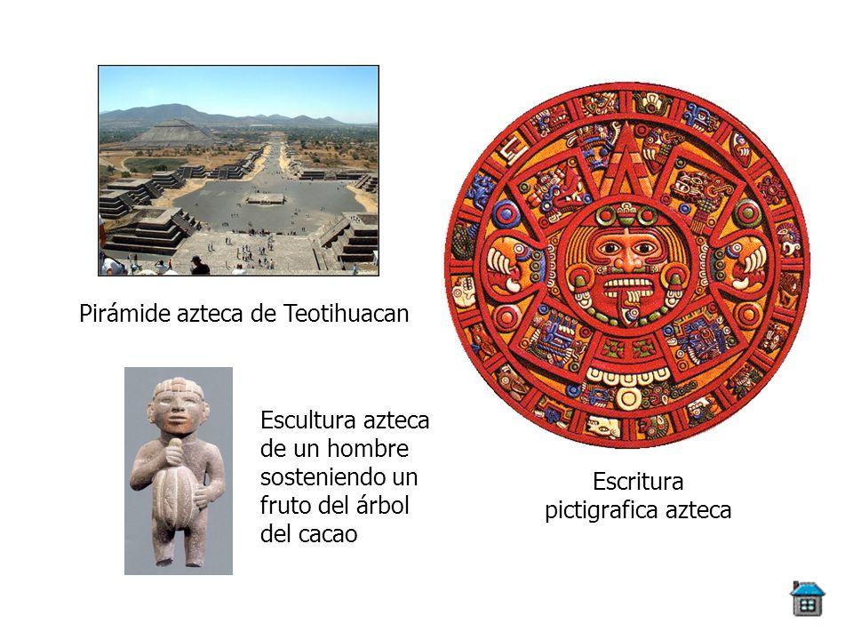 Pirámide azteca de Teotihuacan Escritura pictigrafica azteca Escultura azteca de un hombre sosteniendo un fruto del árbol del cacao