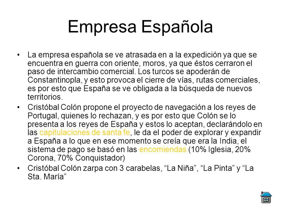 Empresa Española La empresa española se ve atrasada en a la expedición ya que se encuentra en guerra con oriente, moros, ya que éstos cerraron el paso