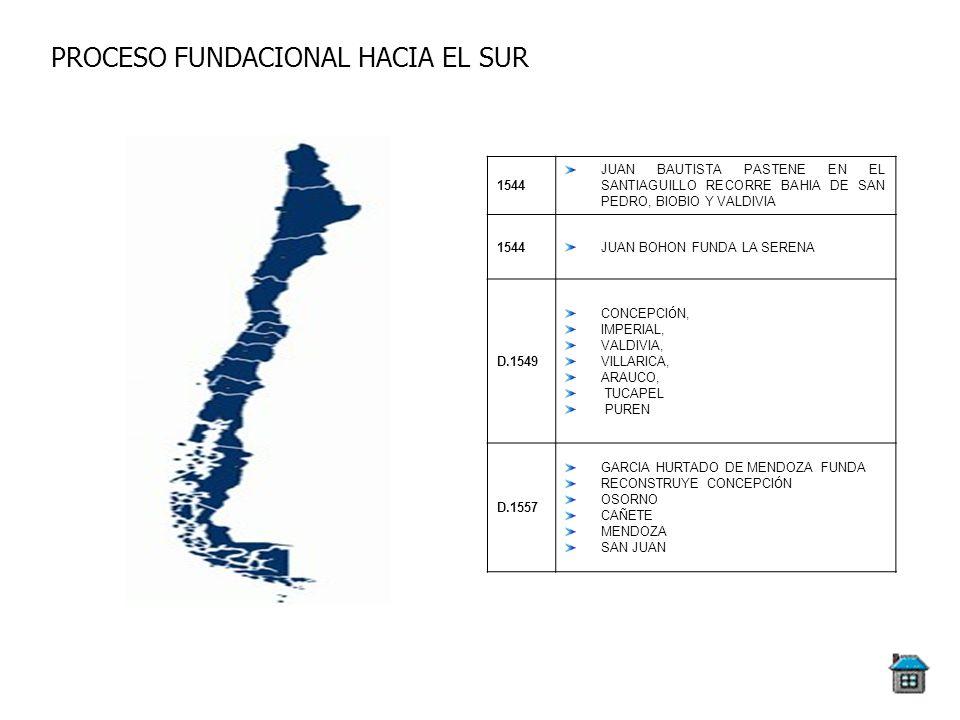 PROCESO FUNDACIONAL HACIA EL SUR 1544 JUAN BAUTISTA PASTENE EN EL SANTIAGUILLO RECORRE BAHIA DE SAN PEDRO, BIOBIO Y VALDIVIA 1544JUAN BOHON FUNDA LA S